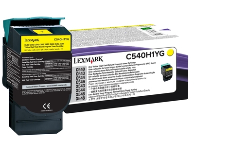 Lex0c540h1yg   Lexmark C540 Yellow Toner      Return Cartridge                                             - UF01