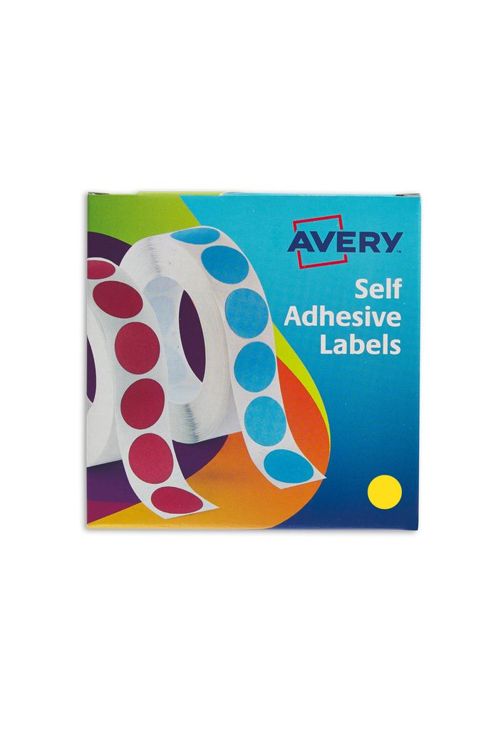 24-508 avery Avery Labels In Disp Round 19mm Dia Ylw 24-508 (1120 Labels) - AD01