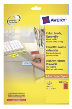 L6034-20 avery Avery Coloured Labels 63.5x34mm Red L6033-20 (480 Labels) - AD01