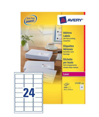L7159-250 avery Avery Quickpeel Address Label 63x34mm L7159-250 (6000labels) - AD01