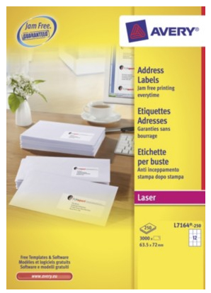 L7164-250 avery Avery Quickpeel Address Label 63x72mm L7164-250 (3000labels) - AD01