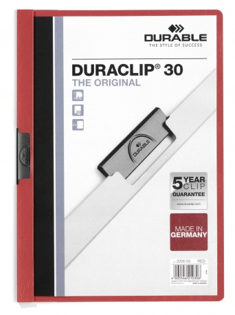 220003 durable Durable Duraclip 30 Report File 3mm A4 Red 220003 (pk25) - AD01
