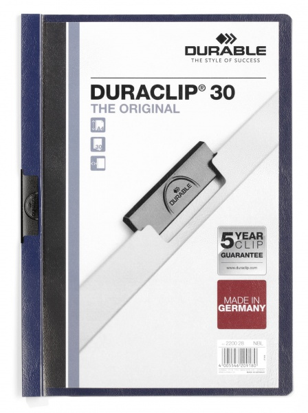220028 durable Durable Duraclip 30 Report File 3mm A4 Mn Blue 220028 (pk25) - AD01