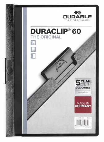 220901 durable Durable Duraclip 60 Report File 6mm A4 Black 220901 (pk25) - AD01