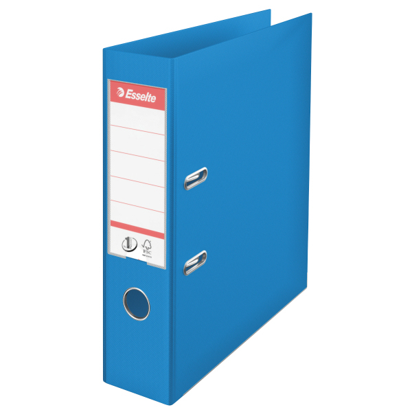 624067 esselte Esselte No1 Lever Arch File Polyprop A4 Lightblue 75mm 62406 - (pk10) - AD01