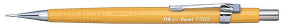 P209 pentel Pentel 209 Automatic Pencil 0.9mm Lead Yellow P209 - (pk12) - AD01