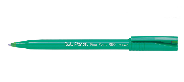 R50-d pentel Pentel R50 Rollerball Pen Green Barrel 0.8mm Green R50-d - (pk12) - AD01