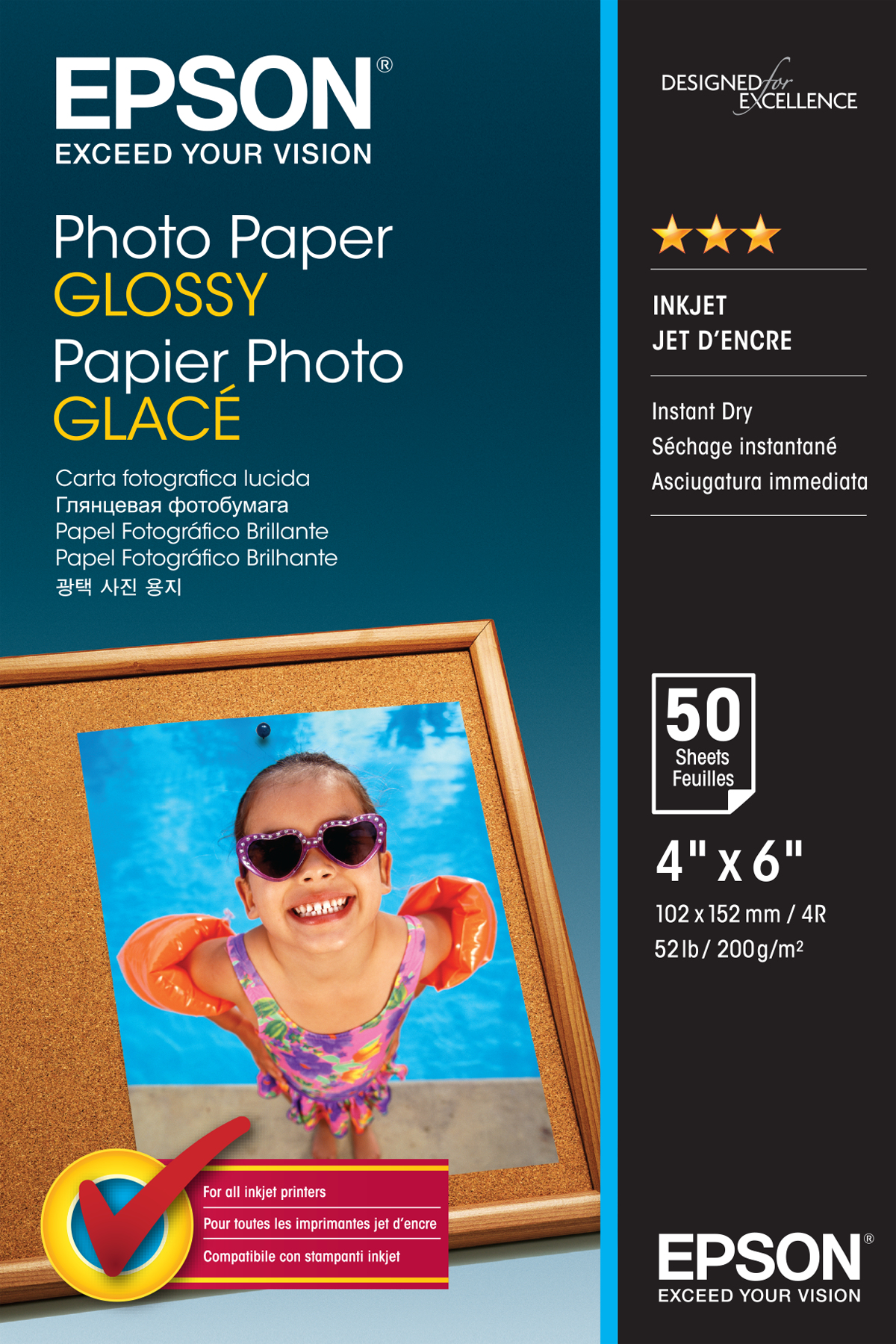 C13s042547 epson Photo Paper Glossy 10x15 50 Sheet - AD01