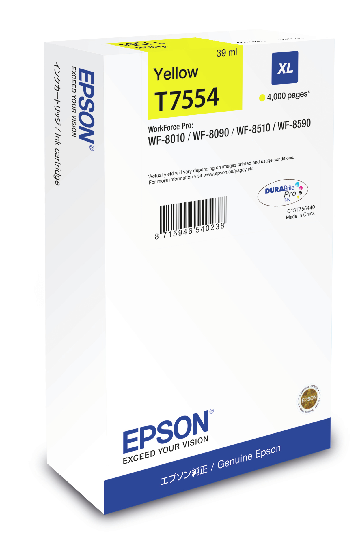 C13t755440 epson Wf8xxx Ink Cart Yellow Xl 4k - AD01