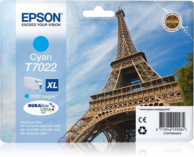 C13t70224010 epson Wp4000/4500 Cyan Ink Xl 2k - AD01