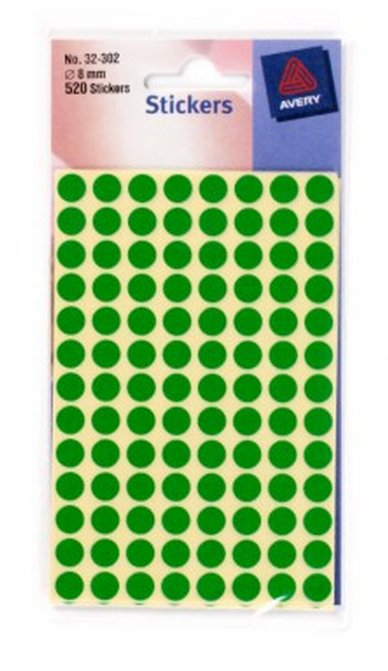 32-302 avery Avery Coloured Labels Round 8mm Dia Green 32-302 (520labels) - (pk10) - AD01