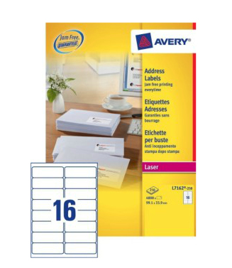 L7162-250 avery Avery Quickpeel Address Label 99x34mm L7162-250 (4000labels) - AD01