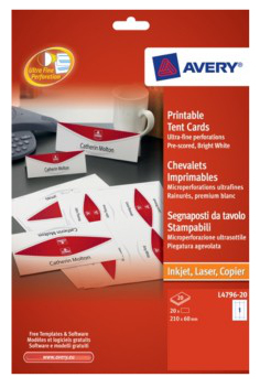 L4796-20 avery Avery Printable Tent Cards 210x60mm White L4796-20 (20cards) - AD01