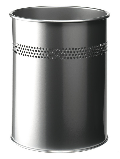 330023 durable Durable Waste Bin Metal Round Perf 15l 30mm Silver 330023 - AD01