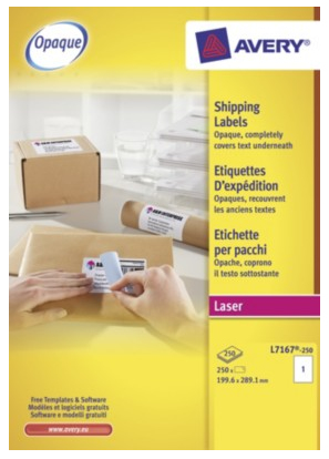 L7167-250 avery Avery Blockout Ship Labels 200x289mm L7167-250 (250 Labels) - AD01