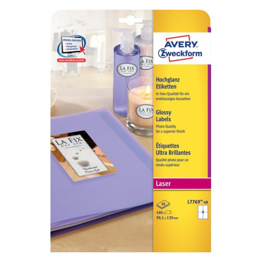 L7769-40 avery Avery Glossy Colour Labels 139x99mm L7769-40 (160 Labels) - AD01
