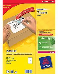 L7167-500 avery Avery Blockout Ship Labels 200x289mm L7167-500 (500 Labels) - AD01