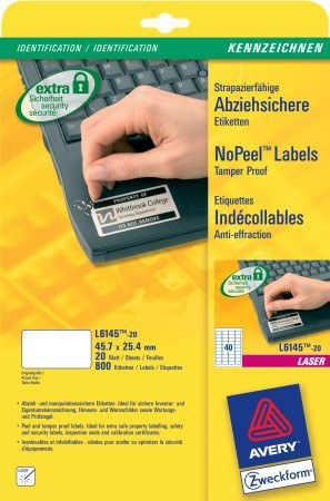 L6145-20 avery Avery Nopeel Label Antitamper 45.7x25mm L6145-20 (800labels) - AD01