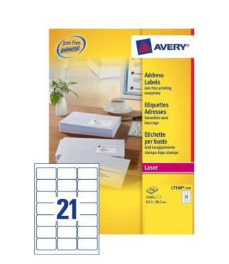 L7160-250 avery Avery Quickpeel Address Label 63x38mm L7160-250 (5250labels) - AD01