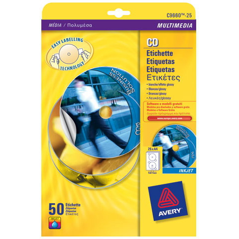 C9660-25 avery Avery Fullface Cd Label Glossy 117mm Dia C9660-25 (50labels) - AD01