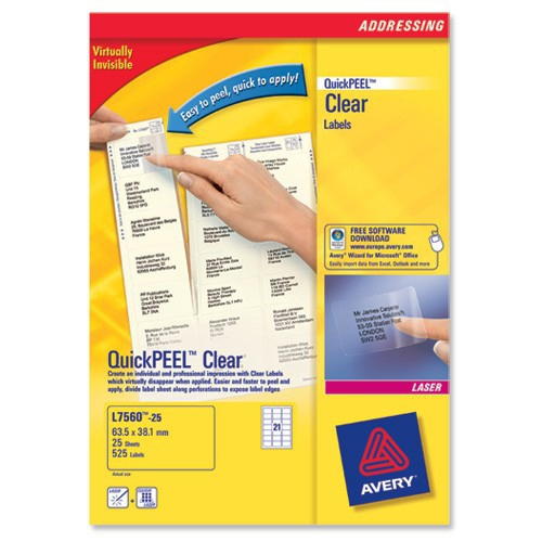 L7560-25 avery Avery Clear Laser Labels 63.5x38mm L7563-25 (525 Labels) - AD01