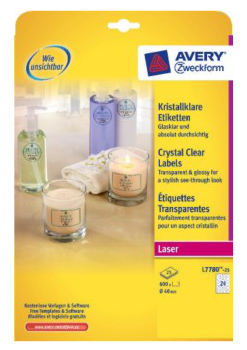 L7780-25 avery Avery Crystal Labels 40mm Dia Clear L7780-25 (600 Labels) - AD01