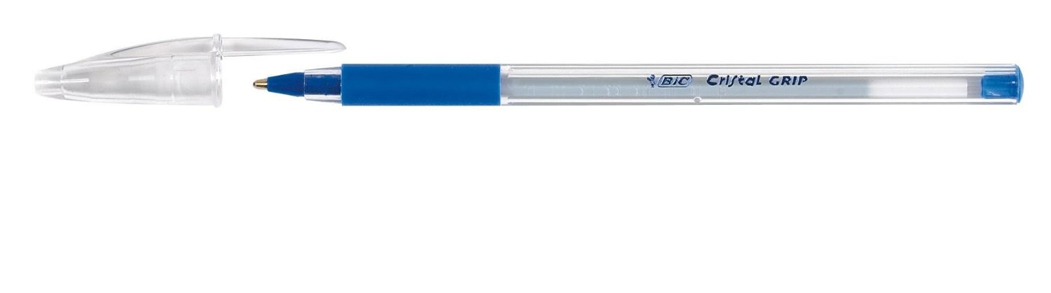 802801 bic Bic Cristal Grip Ball Pen Medium Blue 802801 - (pk20) - AD01