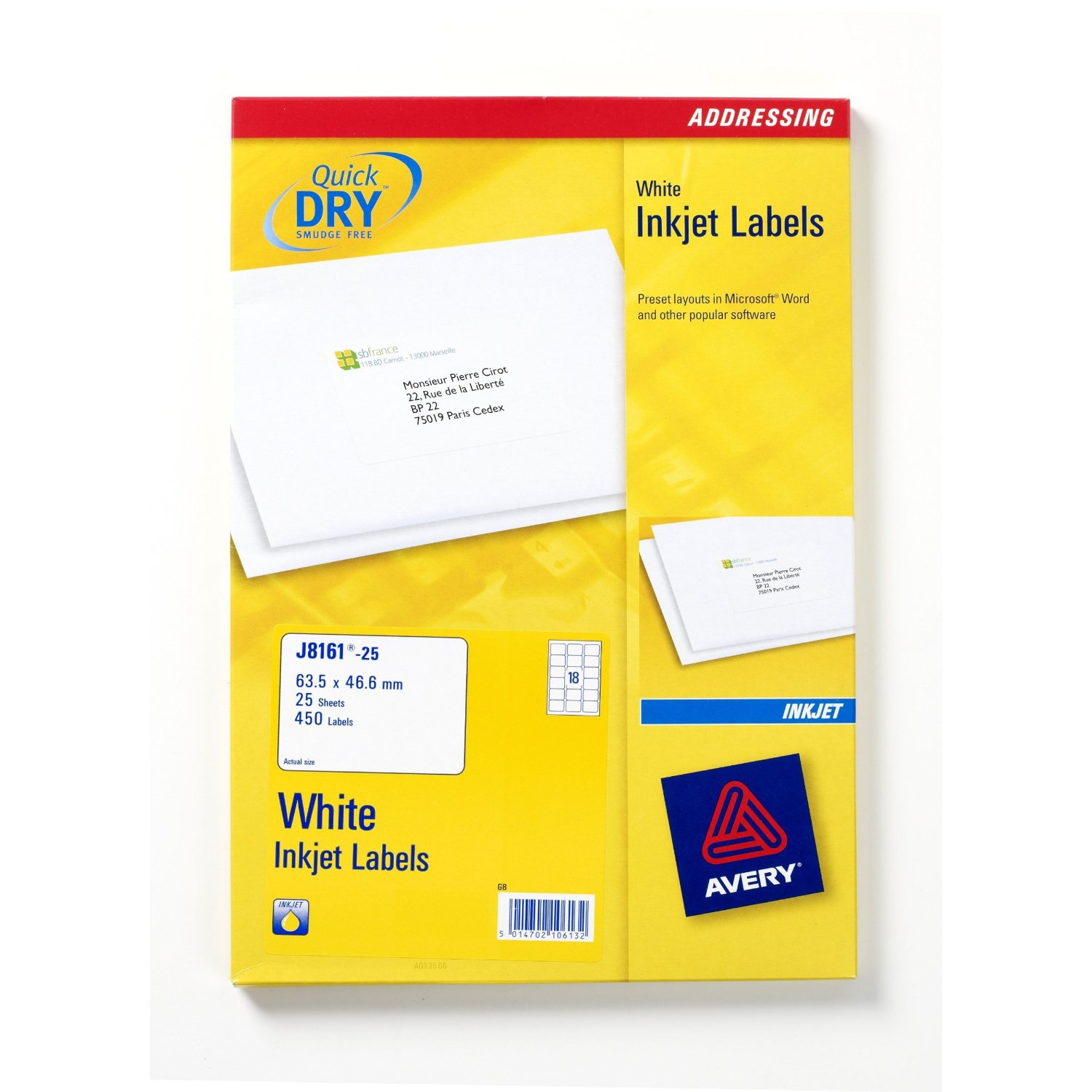 J8161-25 avery Avery Inkjet Address Label 63.5x46.6mm J8161-25 (450 Labels) - AD01