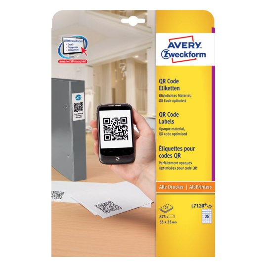 L7120-25 avery Avery Qr Code Labels 35x35mm L7120-25 (875 Labels) - AD01