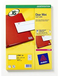L7552-25 avery Avery Clear Mini Laser Labels 55x12.2mm L7552-25(500 Labels) - AD01
