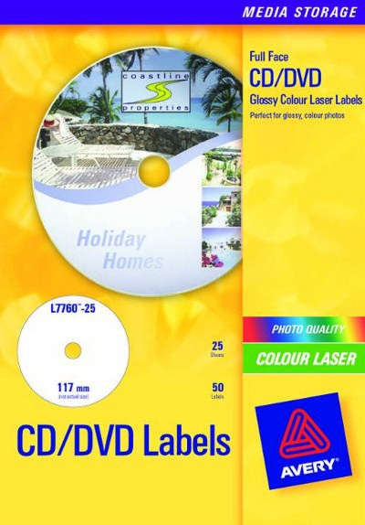 L7760-25 avery Avery Full Face Cd Glossy Laser 117mm Dia L7760-25(25labels) - AD01