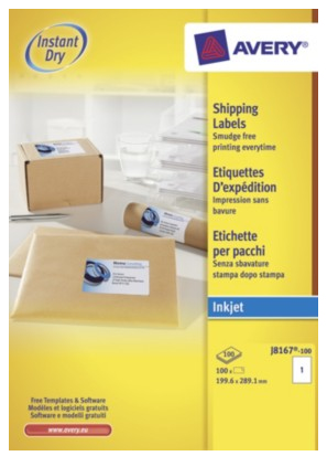 J8167-100 avery Avery Inkjet Address Labels 200x289mm J8167-100 (100 Labels) - AD01
