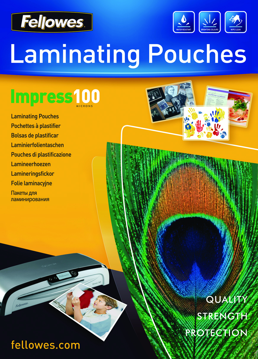 5351111 fellowes Fellowes Laminating Pouch A4 2x100 Micron 5351111 (pk100) - AD01