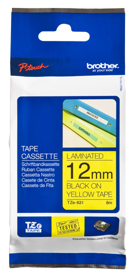 Tze631 brother P Touch Tape 12mm Black On Yellow - AD01
