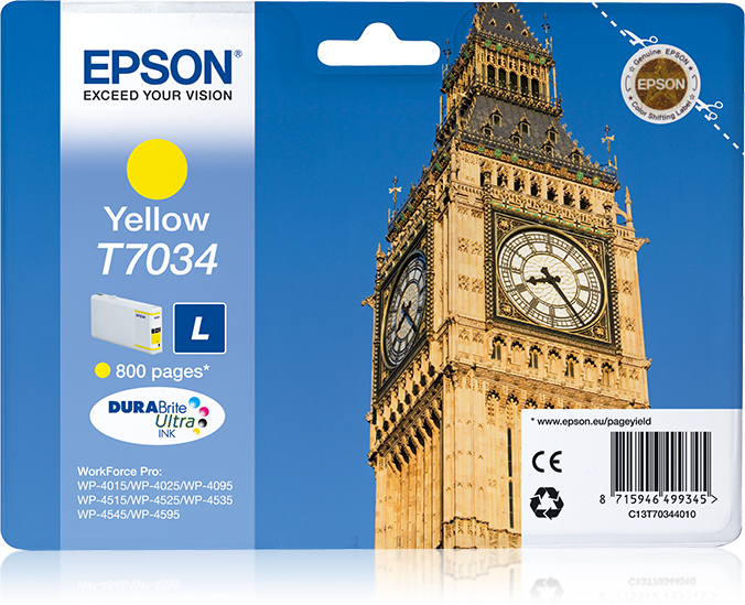C13t70344010 epson Wp4000/4500 Yellow Ink - AD01