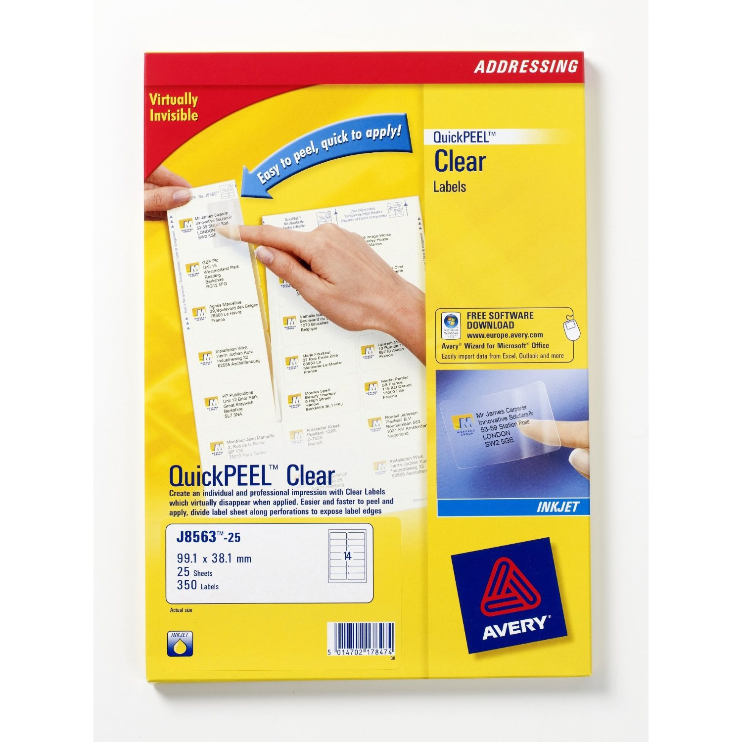 J8563-25 avery Avery Clear Inkjet Labels 99x67.7mm J8565-25 (200 Labels) - AD01