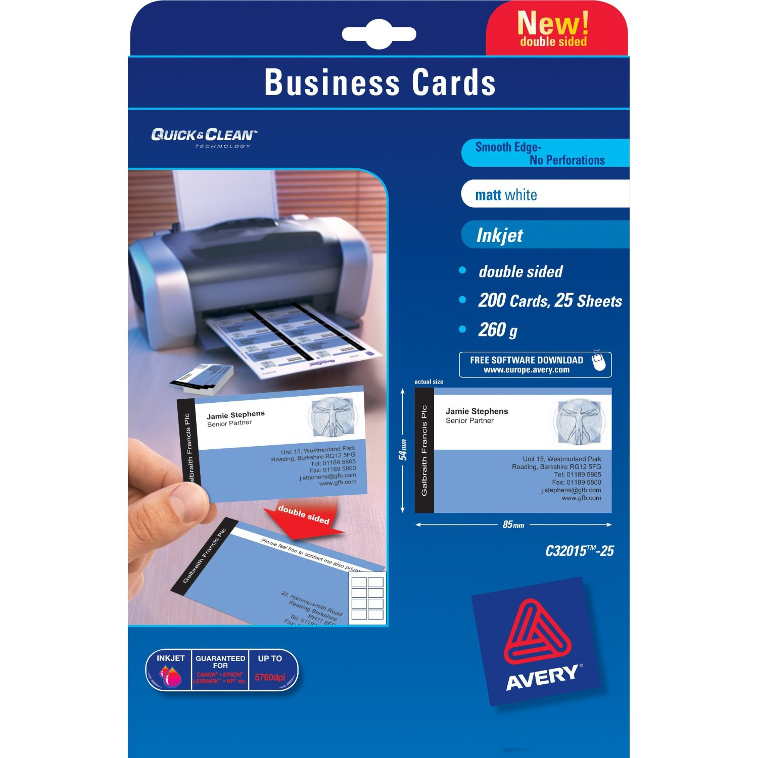 C32015-25 avery Avery Business Cards Double Sided Matt C32015-25 (200 Cards) - AD01