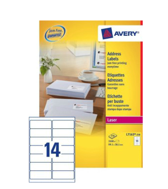 L7163-250 avery Avery Quickpeel Address Label 99x38mm L7163-250 (3500labels) - AD01
