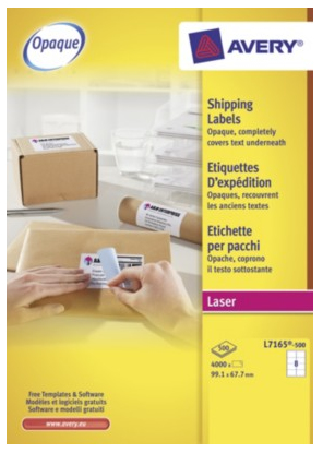 L7165-500 avery Avery Blockout Shipping Labels 99x67mm L7165-500(4000labels) - AD01