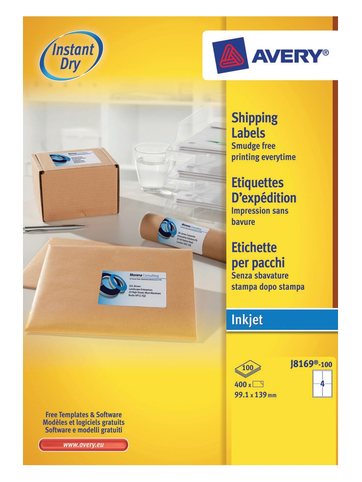 J8169-100 avery Avery Inkjet Addressing Labels 139x99mm J8169-100(400labels) - AD01