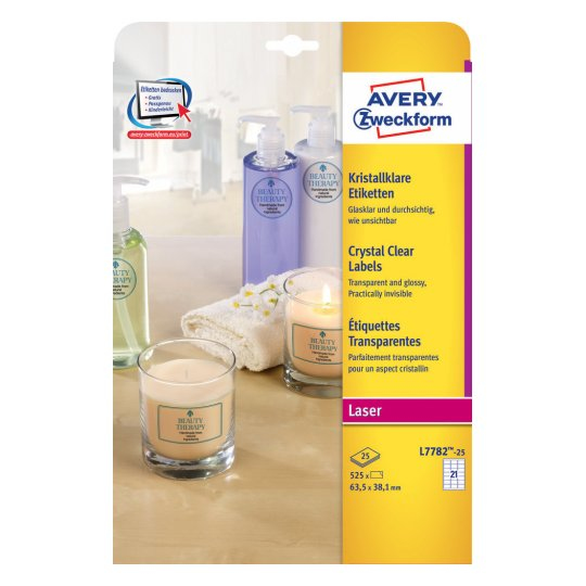 L7782-25 avery Avery Crystal Labels 63.5x38mm Clear L7782-25 (525 Labels) - AD01