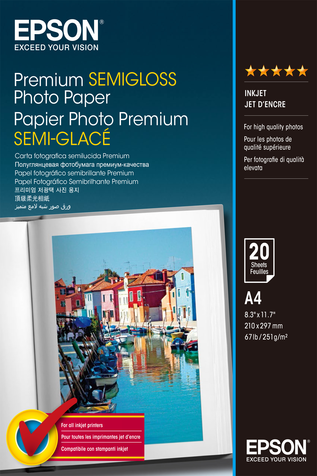 C13S041332 Epson Semi-gloss Photo Paper - A4 (210 X 297 Mm) - 20 Sheet(s) - For Expression Home XP-400, Stylus Pro 3880, Pro 4880, WorkForce 7510, WF-2540 - C2000
