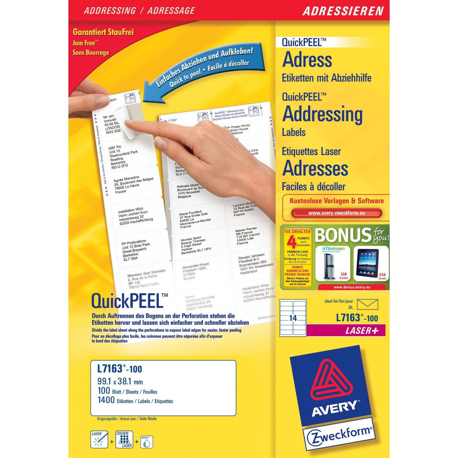L7163-100 avery Avery Quickpeel Address Label 99x38mm L7163-100 (1400labels) - AD01