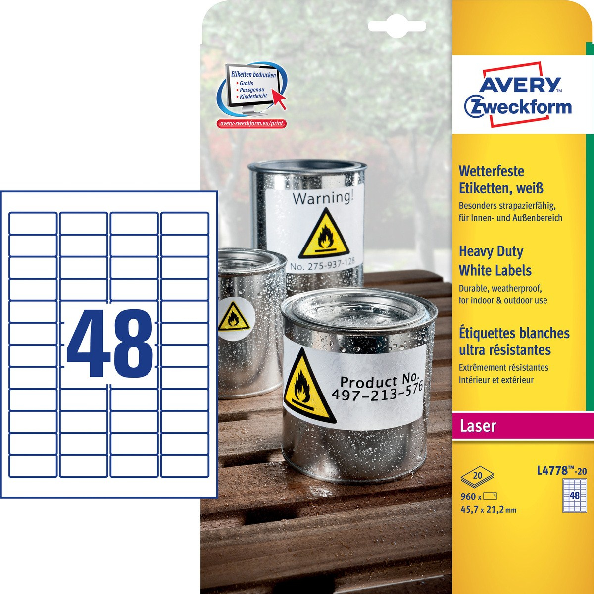 L4778-20 avery Avery Heavy Duty Label 45.7x21.2mm Wht L4778-20 (960 Labels) - AD01