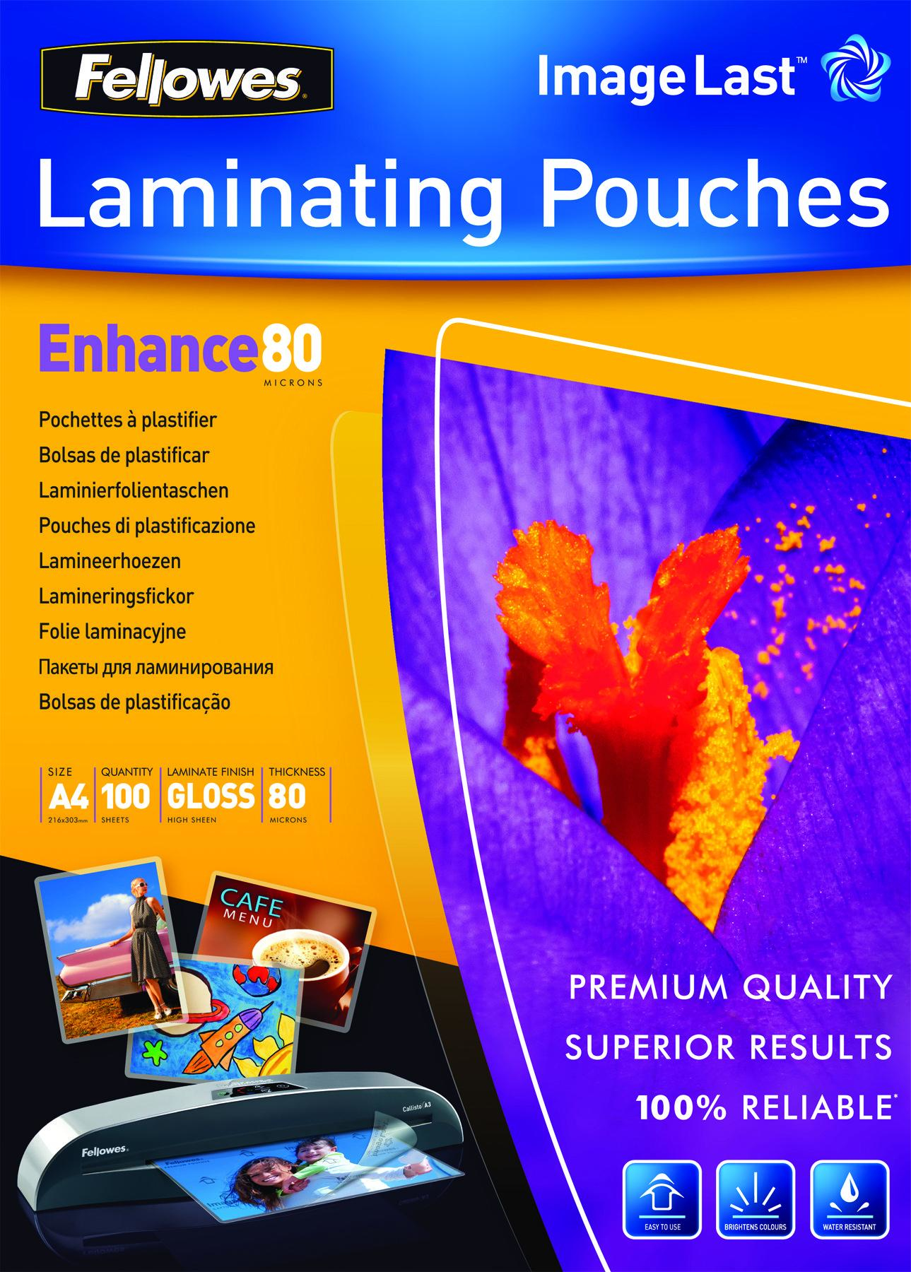 5306114 fellowes Fellowes Laminating Pouch A4 2x80 Micron 5306114 (pk100) - AD01