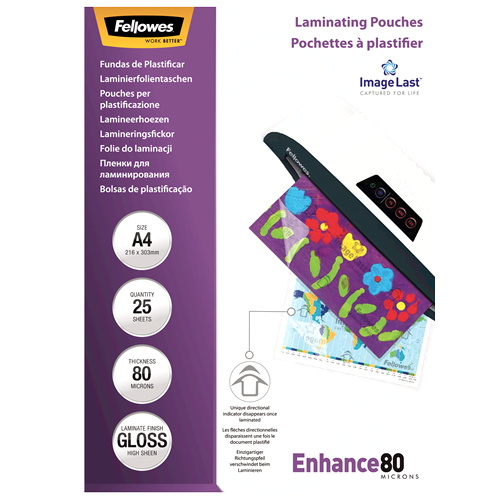 5396205 fellowes Fellowes Laminating Pouch A4 2x80 Micron 5396205 (pk25) - AD01