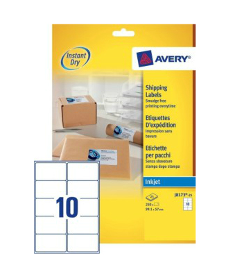 J8173-25 avery Avery Inkjet Addressing Labels 99x57mm J8173-25 (250 Labels) - AD01