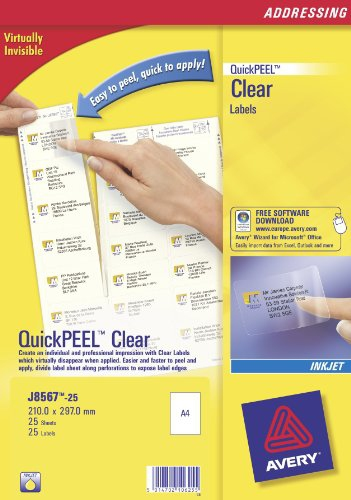 J8567-25 avery Avery Clear Inkjet Labels 210x297mm J8567-25 (25 Labels) - AD01