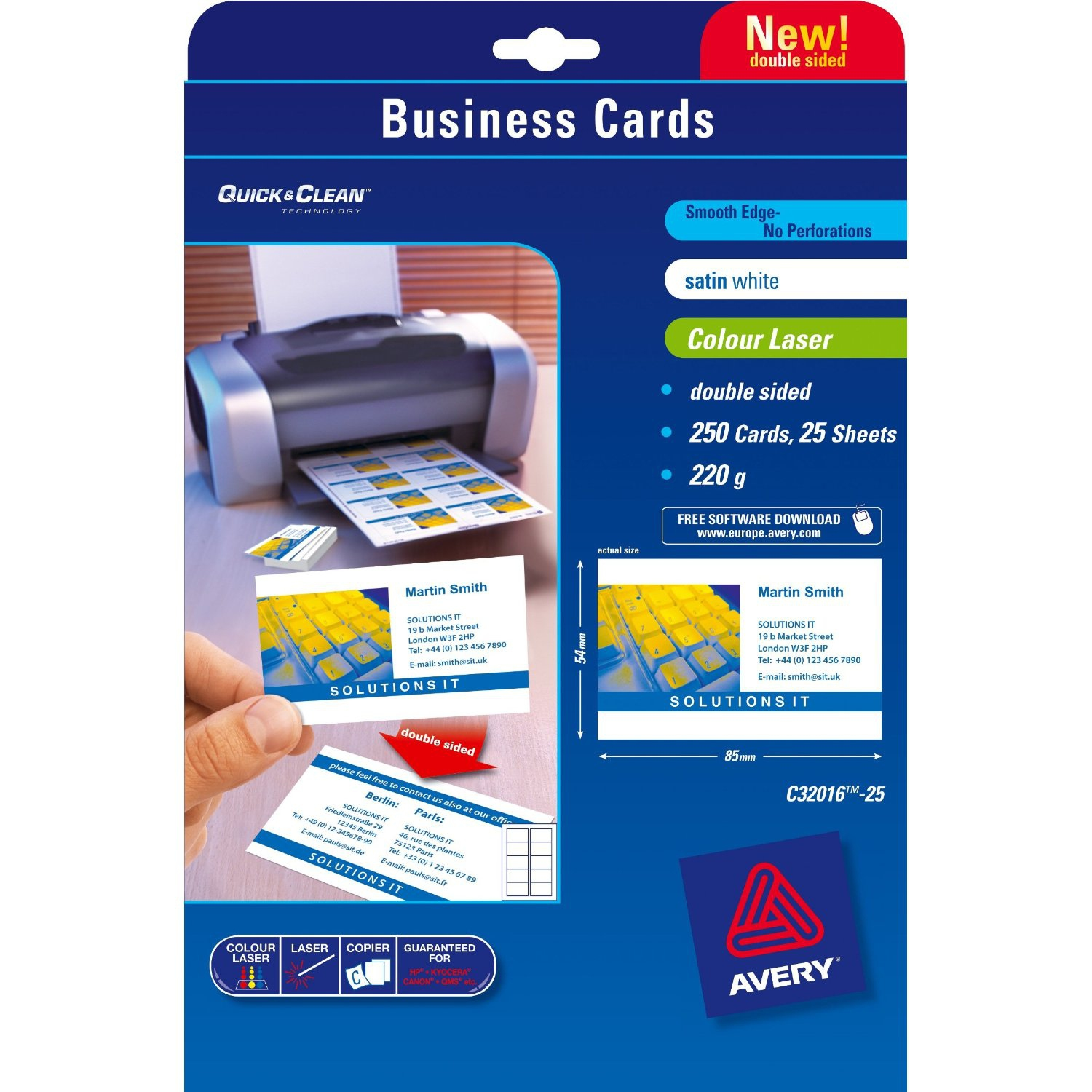C32016-25 avery Avery Business Cards Double Sided Satin C32016-25 (250cards) - AD01