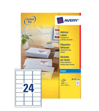 J8159-100 avery Avery Inkjet Address Label 63.5x34mm J8159-100 (2400 Labels) - AD01
